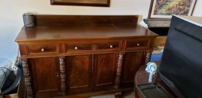 Two For $700: Classic Federal Empire Sideboard & Split RoundtopTable