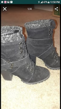 pair of black suede boots Everett