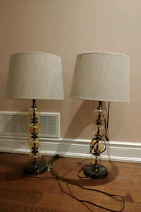 Cream/brown glass lamps