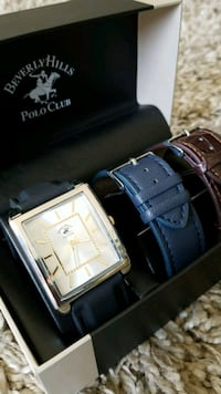square silver-colored analog watch with black leather strap Los Angeles, 90016
