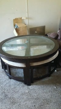 Coffee table with 4 pull out chairs Florence