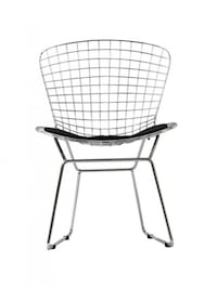 Fs: wire chair with black leather pad