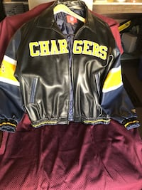 Black and yellow chargers leather zip-up jacket