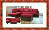 Red sectional free ottoman and delivery  Gaithersburg