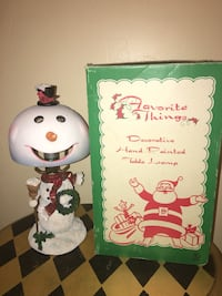 """VIntage 12"""" Favorite Things Decorative Hand Painted Snowman Table Lamp-Excellent Shape, See All Pics"""
