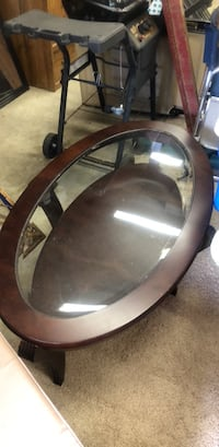 round black wooden framed glass top coffee table Greensboro, 27410