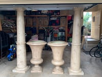 two 6ft 10 plaster decorative columns pillars and 2 beautiful 3 foot decorative urns Mc Lean