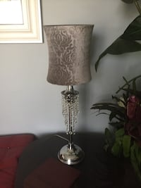 stainless steel base white shade table lamp Rialto, 92316