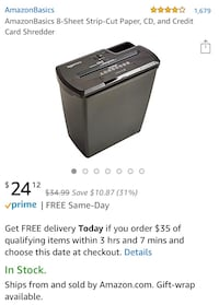AmazonBasics 8-Sheet Strip-Cut Paper, CD, and Credit Card Shredder Arlington, 22201