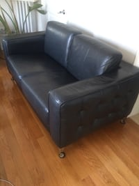 Modern black leather couch CHATHAM