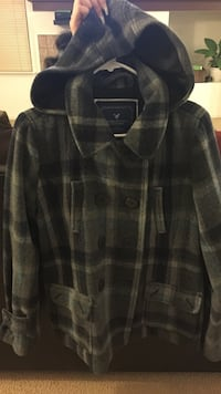 black and gray plaid double breasted hoodie coat Suisun City, 94585