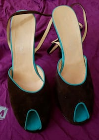 Suede Brown Heels with Teal Coloring Ottawa, K1Z 6R6