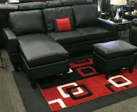 Brand New Black Faux Leather Sectional w/Ottoman  Silver Spring, 20902
