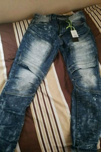 distressed blue-washed jeans 49 km