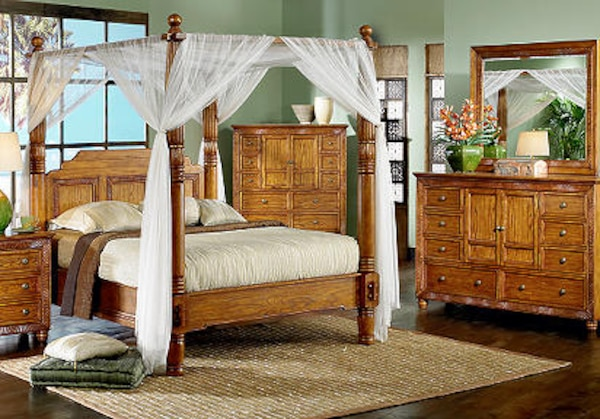 Cindy Crawford 9 piece Malibu light Canopy Bedroom Furniture. The bedroom  set it\'s made of real solid wood. If you are interested please bring some  ...