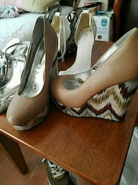 pair of brown leather platform stilettos Sunnyvale, 94087