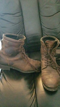 pair of brown leather combat boots 2249 mi