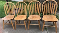 four brown wooden windsor chairs Burbank, 60459