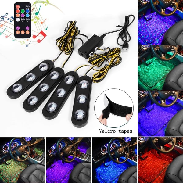 Car Lights Interior, 4 Pack New Version USB Car LED Lights, 7 Colors Music Car Interior Lights Under Dash Lighting Kit Starry Star Neon Lights with Sound Active Function and Remote Control, DC 5V