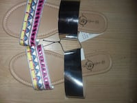 Sliver,tan and multicolored  leather sandals  Providence, 02904
