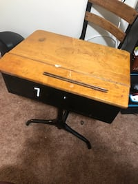 brown wooden table with black metal base Elkton, 21921