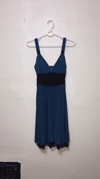 Teal and black fit and flare dress in small