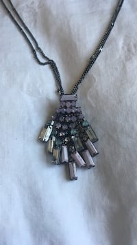 Dark silver colored purple pendant long necklace Germantown, 20874