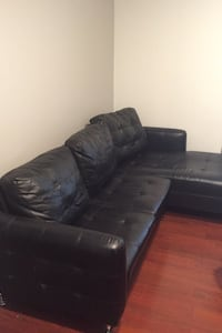 Black leather type couch and tables Malden, 02148