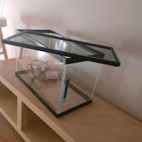 black framed clear glass fish tank 724 km