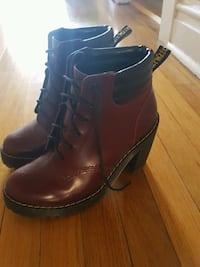 brown Dr. Martens leather chunky heeled booties