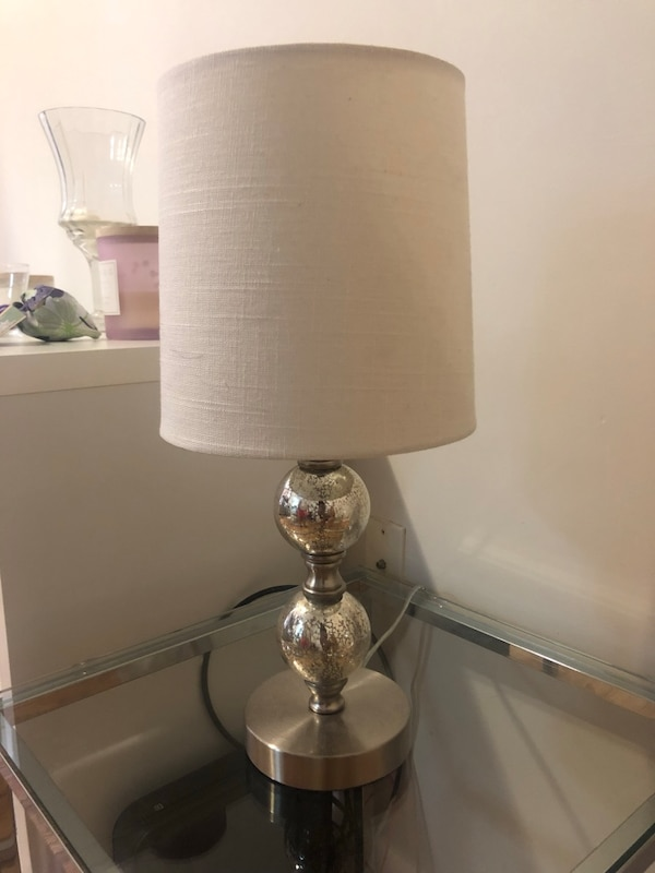Used Small Stacked Glass Ball Table Lamp Base Nickel Threshold