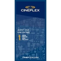 Cineplex Admit One - 2 tickets available (Expire Oct 31, 2021). London