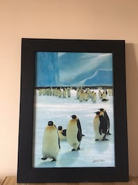 brown wooden framed painting of penguins Montréal, H3H
