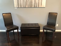 two black leather padded chairs Portland, 97220