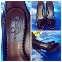 pair of brown-and-black Jessica Simpson leather platform pumps collage 812 km