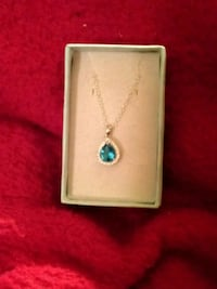 silver-colored necklace with blue gemstone pendant Evansville, 47710