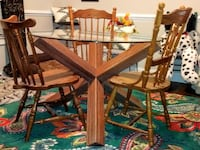 brown wooden dining table set LEXINGTON