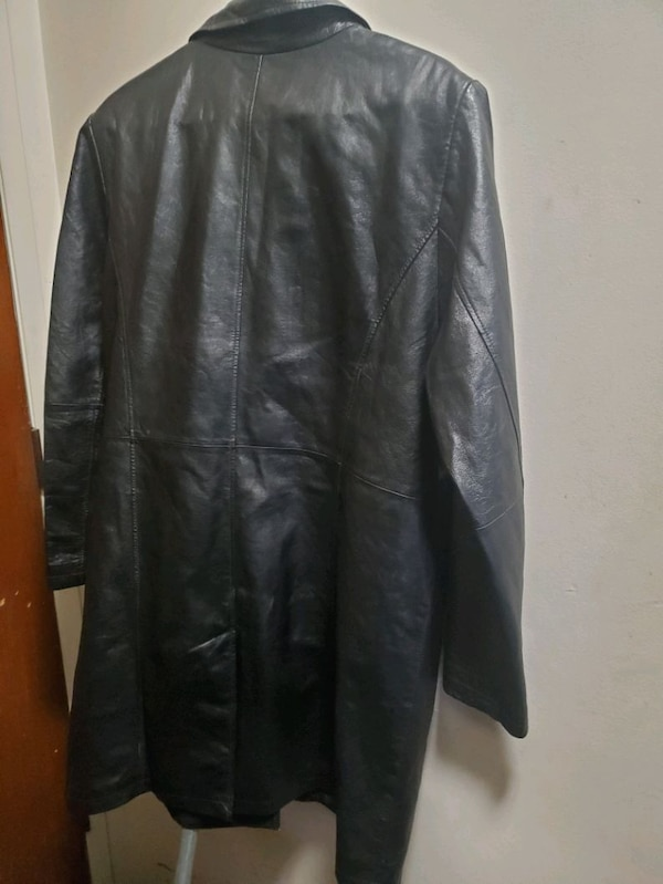 Mens leather 3/4 length coat ce4a87a2-4b99-458c-85f8-28b24531709e