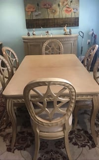 Dining table set with 6 chairs, good wood, great for home  49 km