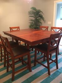 Rectangular brown wooden table with six chairs dining set Oak Island
