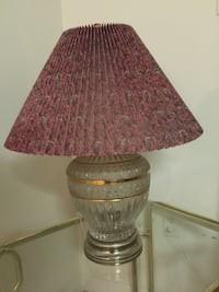 Clear glass base and red cone lamp shade table lamp-  Frederick, 21701