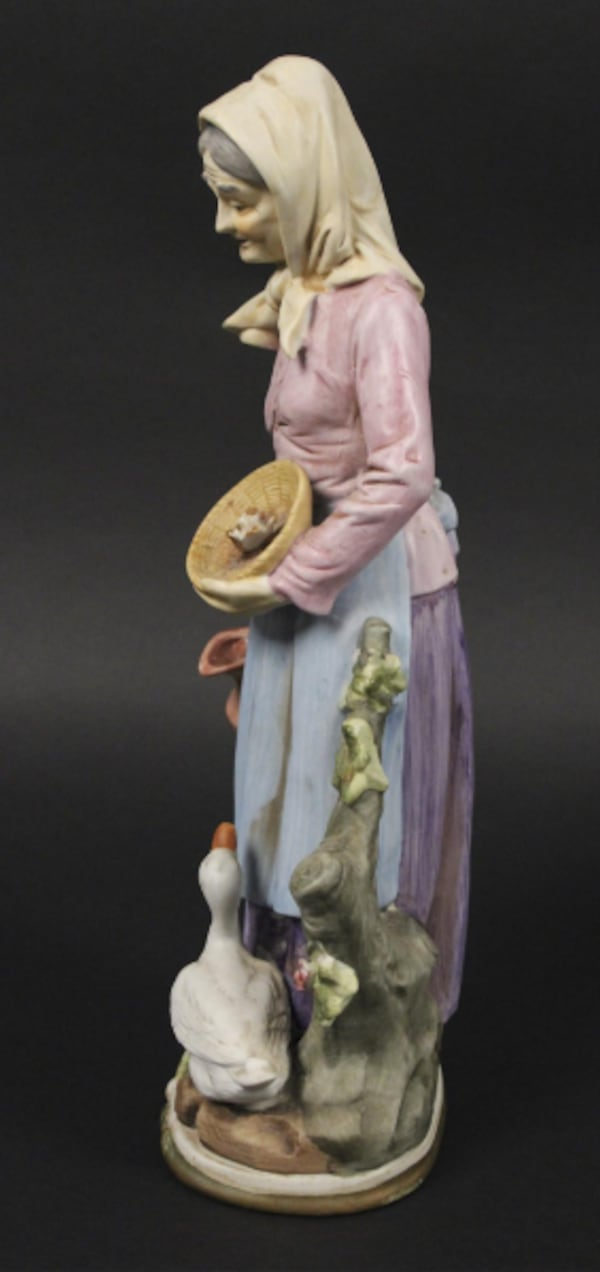 "Vintage Collectble 13"" Tall Homo Old Women With Goose Figurine 4b7718ff-b576-483b-a66a-fc382dd8e733"