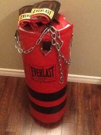 Black and red everlast heavy bag and boxing gloves