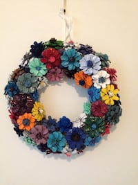 Handcrafted colourful pine comb flower wreath Mississauga, L5J 1V8