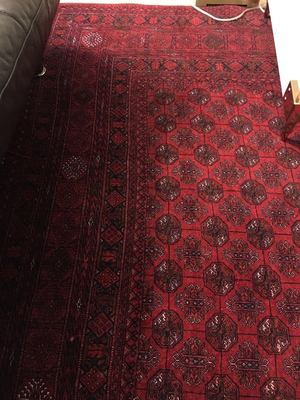 """Afghan mauri Red, black, and white area rug 76""""x112"""" d29cfe65-c9f1-44d9-a497-7dcdc679e780"""