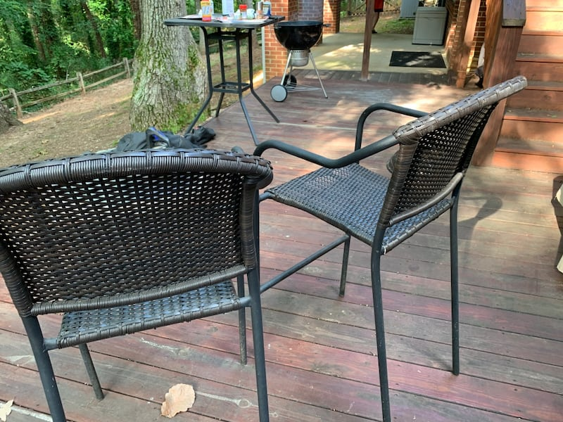 Two (2) bar stool height patio chairs with cover aa19937f-a2bf-414b-a172-3cd813ffdd50