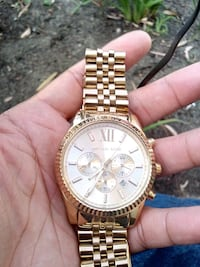round gold Michael Kors chronograph watch with link bracelet Lynwood