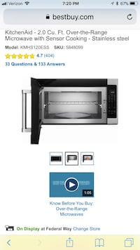 Stainless steel kitchenaid over-the-range microwave oven screenshot Kent, 98032