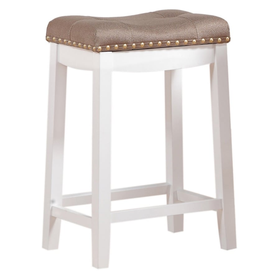 "24"" Padded Saddle Stool, White w/ Tan Cushion"