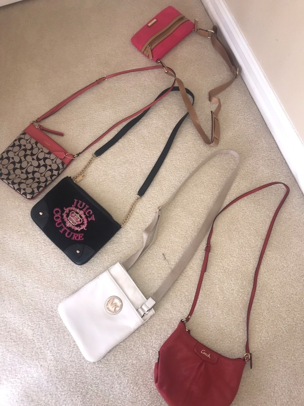 Black and red leather crossbody bag